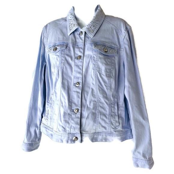 Chico's Jackets & Blazers - Platinum Chico's Size 2 Light Blue Jean Jacket